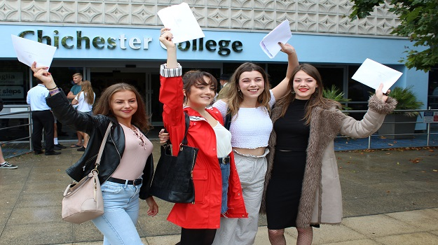 Celebrations for Chichester College A-level students